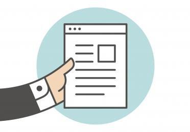 afbeelding van een hand met een pagina erin.