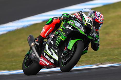 Jonathan Rea for the Kawasaki Racing Team in the Superbikes