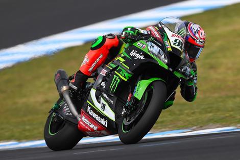 Jonathan Rea for the Kawasaki Racing Team in the Superbikes