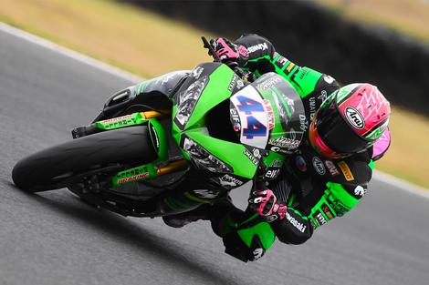Lucas Mahias van het Team Kawasaki Pucetti Racing met Elf