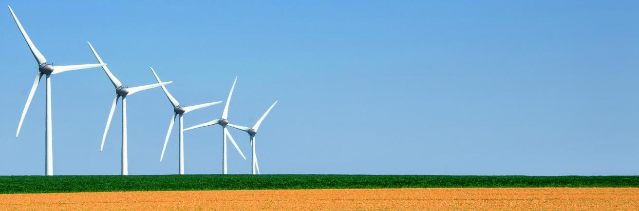 Windmolens in het gras
