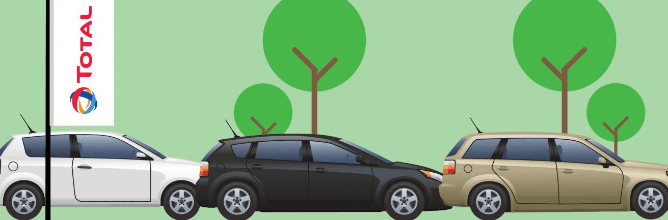 Afbeelding met meerdere autos en total vlag.