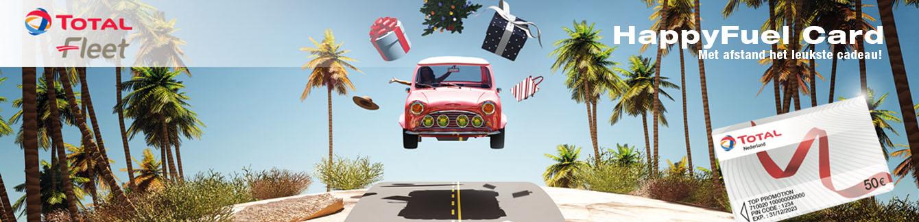 Auto op de weg met relatiegeschenken om als idee HappyFuel Card in te zetten.