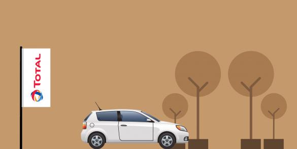 afbeelding met total vlag en witte auto op de voorgrond.
