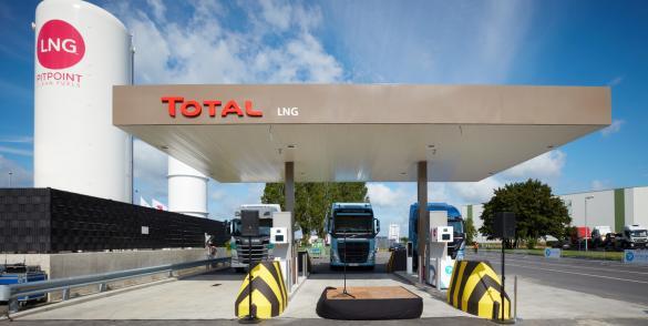 Opstelling Total LNG PitPoint tankstation Rekkem België